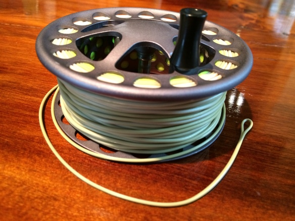 Airflo Super-Dri Ballistic floating line loaded up and ready to go. A nice welded loop at both ends means and easy way to change lines for those who can't afford multiple spools.